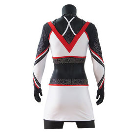 Breathable Rhinestones Cheerleader Crop Top And Skirt Red / White / Black Color
