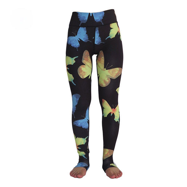 High Waist Ladies Yoga Clothes , Butterfly Sublimation Printed Skin Tight Yoga Pants