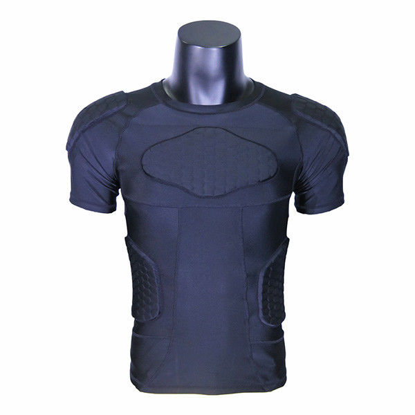 Plain Black Youth Padded Compression Shirts / Football Compression Shirt Lycra