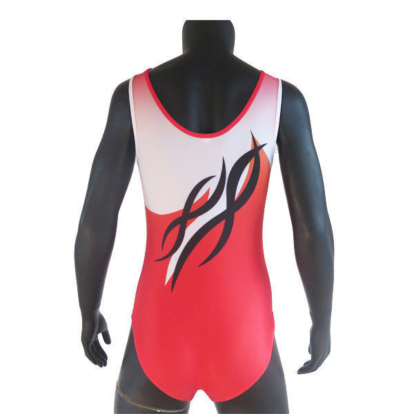 Red Colors Breathable Cool Gymnastics Leotards For Training Dancing
